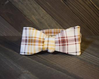 Brown Plaid Self Tie Bow Tie