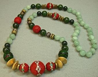 Vintage Chinese RARE Red Cinnabar Cloisonne Inlaid Bead Knotted Necklace,Vintage Spinach Jade, Vintage Aventurine, Vintage German Glass