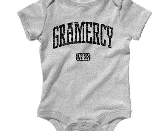 Baby One Piece - Gramercy Park - Infant Romper - NB 6m 12m 18m 24m - Baby Shower Gift, NYC, New York City, Manhattan, Private - 3 Colors