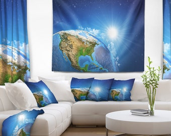 Designart Sunrise over the Earth Landscape Abstract Wall Tapestry, Wall Art Fit for Wall Hanging, Dorm, Home Decor