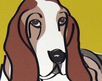 Soulful a Basset Hound in the Limited Edition Giclee Dog Series