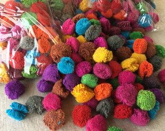 """100 Pom Poms, 1"""" Mixed Colors Handmade Cotton Pom Poms, Decorative Colorful Pom Poms, Cotton Pom Poms"""