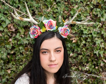 Rainbow Fairy Crown- Flower Antlers- Fairy Costume- Faun Costume- Antler Headdress- Flower Crown- Rainbow Roses- LARP- Antler Headband