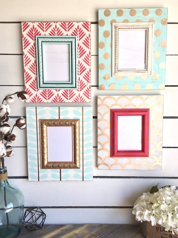 Shabby Chic Frame Set - Distressed Frame Set in Gold, Mint and Coral ...