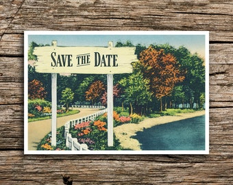 Rustic Signpost Save the Date Postcard // Fall Wedding Autumn Trees Invitation October November Camp Farm Lake Fun Outdoors Post Cards