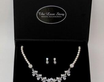 Necklace Set - Stunning Cubic Zerconia & Swarovski Crystal Pearl Necklace Set, Pearl Necklace, Cubic Zerconia Necklace Set, Bridal Jewelry