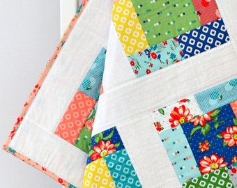 Blue Baby Girl Quilt ~ Patchwork Quilt ~ Baby Play Mat ~ flowers baby shower gift baby gift handmade patchwork baby blanket coral baby quilt