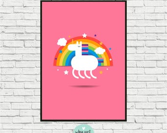 Poster with cute cartoon unicorn is perfect for to decorate your children's bedroom or as a gift for family or friends.