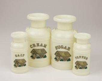 Vintage Plastic Milk Can 4 pc Condiment Set - Cream, Sugar, Salt & Pepper