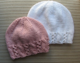 Knitting Pattern Hat with a Fancy Border #127