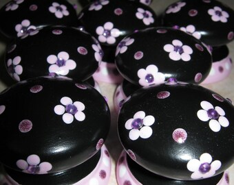 8 Black Knobs with Pink Flowers and RHINESTONES - Wooden BRITISH Dresser Knobs
