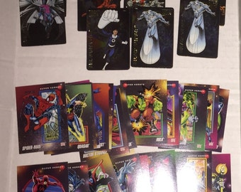 An Assortment of Marvel Magnet and Trading Cards