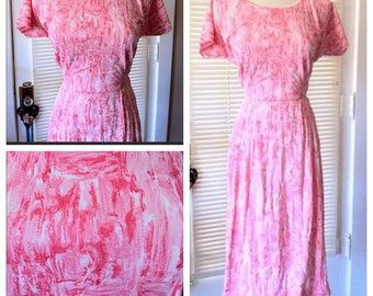 Vintage 60s PINK Nylon Jersey Dress MAD MEN Mod L 40""