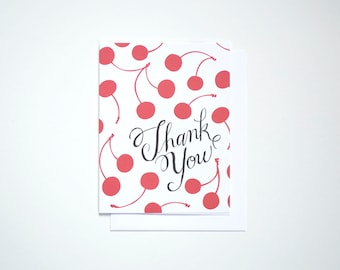 Thank You Note Card with red Cherries