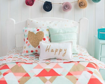 Doll Bedding Mint and Coral, Gold bedding set, 18 inch doll bedding, glitter, happy, girls gift,