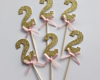 12 x Gold Glitter Number 2 Cupcake Toppers with Pink Bow, Gold 2nd Birthday Cake Toppers, Wedding Anniversary Cake Toppers