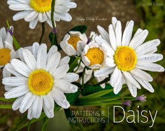 Crochet Daisy Flower Pattern - Shasta Daisy Pattern - Instant Download