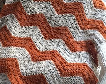 chevron zig zag ripple baby toddler blanket afghan wrap crochet knit wheelchair stripes VANNA WHITE yarn adult lap robe thanksgiving fall