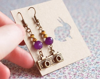 Bronze Camera Earrings.Photographer's gift.Amethyst earrings Jewelry. Steampunk earrings.Valentine gift.Hipster Earrings.Gift for her.