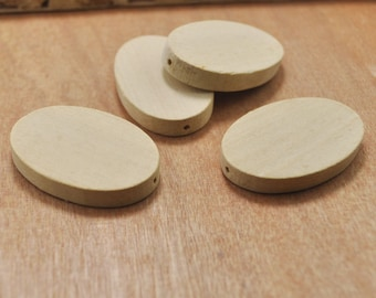 20pcs unfinished Natural Oval Wood beads,Oval Flat Wooden Beads--42x28mm.