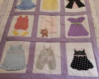 Handmade girl quilt,toddler quilt, lap quilt throw