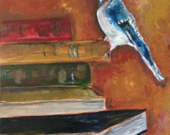 Bluejay and Books original bird painting by author/artist Nancy B. Brewer 11x14 on canvas