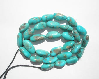 "Genuine Campitos Blue Turquoise Nugget Beads - 7-8x13-16mm - 16"" Strand"