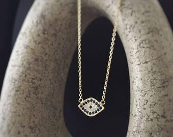 Evil eye necklace, evil eye greek silver/golden silver/golden silver(pink) 925 necklace, evil eye CZ necklace, eye jewelry,