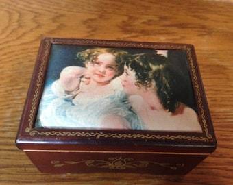 Vintage Linden Music Box/Image of Calmady Children