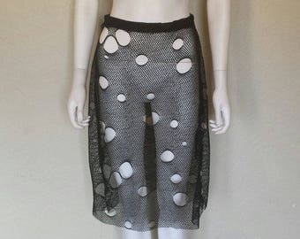 Black holey fishnet highwaist elastic skirt Small medium