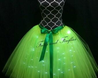 Green LED Tulle Skirt/Lighted Tulle Skirt/Tutu with Lights/Festival Clothing/Cosplay Costume/Halloween/Tutu Skirt/Bridal Skirt/Costume/Gifts