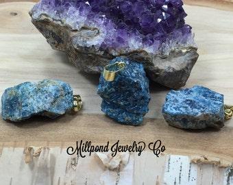 Blue Apatite Pendant, Apatite Pendant, Rough Blue Apatite Pendant, Raw Blue Apatite Pendant, One of A Kind, Gold Plated Bail, PG3329