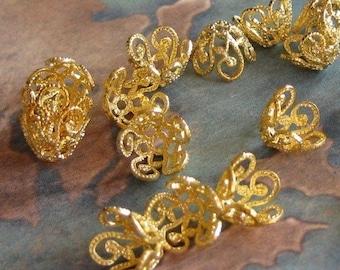 6 PC Art Nouveau Brass Bead Cap / Jewelry Finding 6-8 mm Beads -  R0382