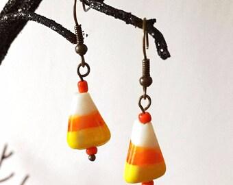 Candy Corn Earrings, halloween candy Jewelry, food Earrings, Fall Jewelry, Candy Earrings, lampwork glass earrings, Halloween gift
