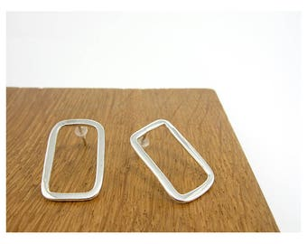 Random rectangle earrings in sterling silver