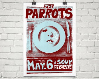 A3 The Parrots limited edition screen print