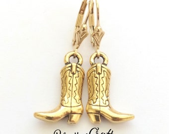Gold Cowboy Boot Earrings - Western Boot Earrings - Cowgirl Boot Earrings - Fun Cowboy Boot Earrings - Cowboy Jewelry