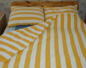 100% Cotton Bedding FULL Set 3 pcs Single/Twin/ Bed Linen Set  Yellow white Striped Duvet Cover 2 Pillowcovers
