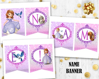 Princess Sofia the First Name banner Birthday banner Printable digital banner
