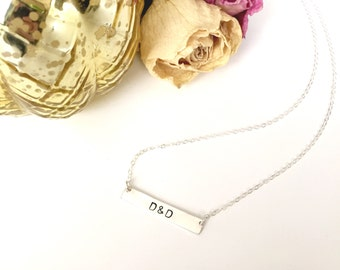 Custom Initials Necklace / Gold Bar Name Necklace / Silver Bar Name Necklace / Bridesmaids Gift / Gifts for Her / Mother's Day Gift