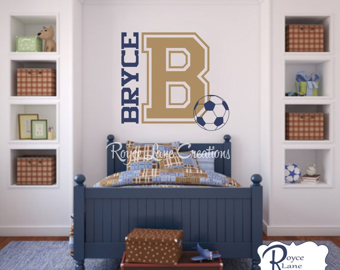 Soccer Wall Decal- Varsity Letter Decal with Personalized Name and Soccer Ball B24 Sports Wall Decal Soccer Ball Wall Decal