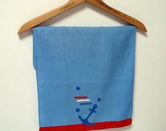 Nautical Towel Vintage Applique Red White Blue Tea Towel Boat Anchor