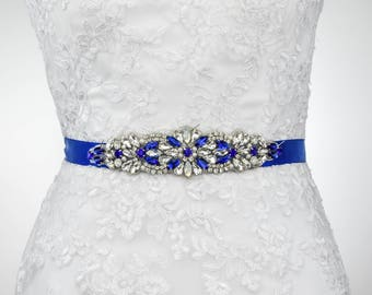 Something Blue Bridal Belt, Sapphire Blue Bridal Belt, Wedding Belt, Bridesmaid Belt, Wedding Dress Sash, Bridal Sash Betl  B133.1
