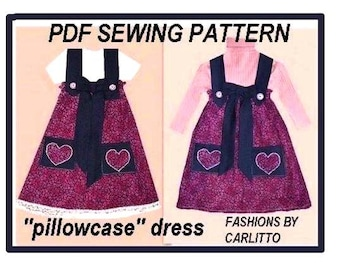 SEWING PATTERN, PILLOWCASE dress, or other suitable fabric... beginner friendly. sundress or jumper, instant download