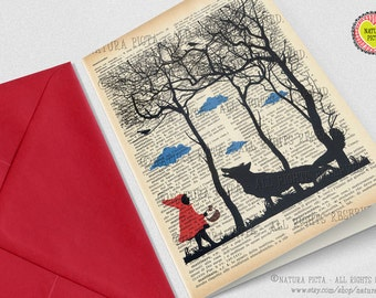 Little red riding hood card-custom card-handmade card-4x6 inch card-Invitation-blank card-set of 3 card-fairy tale card-by NATURA PICTA
