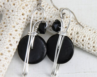 Black Dangle Earring, Gift for Mom, Casual Wear Jewelry, Costume Jewelry, Lightweight Earrings, Gift for Women, Gift for Her, Classic Black