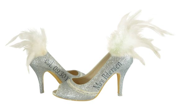833a077fa532c Wedding Date Shoes Wedding Heel 5 Bride Silver inch Bling the ...