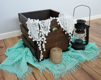 Rustic Wood Crate with Metal Handles - Small 11x11x10.75
