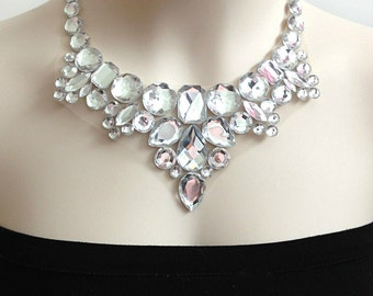 clear rhinestone bib tulle necklace, wedding, bridesmaids, prom, party necklace NEW