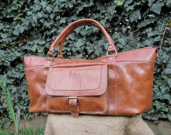 Hand Made Travel Bag / Handmade Leather Duffle Bag / Light Brown Leather Travel Bag / Leather Weekender Bag / Leather Duffel Bag
